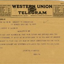 Image of 1981.542 - Telegram to Blanche Laughlin from Jenette Bolles