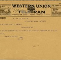 Image of 1981.542 - Telegram to Blanche Laughlin from Helen Shehan