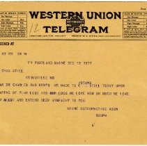 Image of 1981.542 - Telegram to Charles Still from the Maine Osteopathic Association