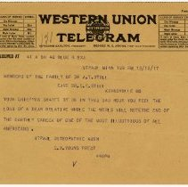 Image of 1981.542 - Telegram to The Still Family from the St. Paul Osteopathic Association