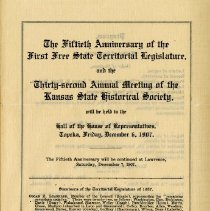 Image of 2009.10 - 50th Anniversary of the First Free State Territorial Legislature Program