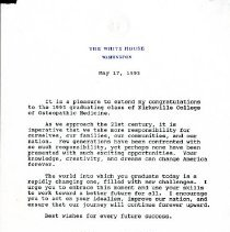 Image of Letter from President Bill Clinton to KCOM