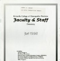 Image of 2016.35 - Kirksville College of Osteopathic Medicine Faculty & Staff Directory, Fall 1998