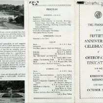 Image of 2009.49 - The Program of the Fiftieth Anniversary Celebration of Osteopathic Education