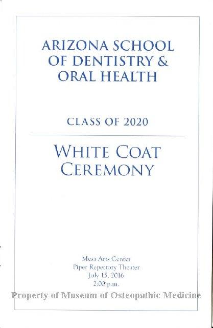 2016.53 - ASDOH Class of 2020 White Coat Ceremony Program