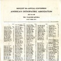 Image of 2016.65 - Table Listing for 27th Annual Convention of the AOA
