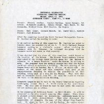 Image of Centennial Celebration Historical Committee Meeting Minutes
