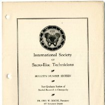 Image of 1990.1258 - Bulletin Number Sixteen of the International Society of Sacro-Iliac Technicians