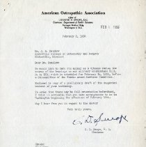 Image of 2017.06 - February 1956 Letter to J.S. Denslow from Chester D. Swope