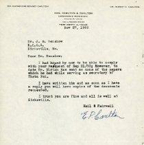 Image of 1985.1115 - November 1953 Letter to John Stedman Denslow from Elbert P. Carlton