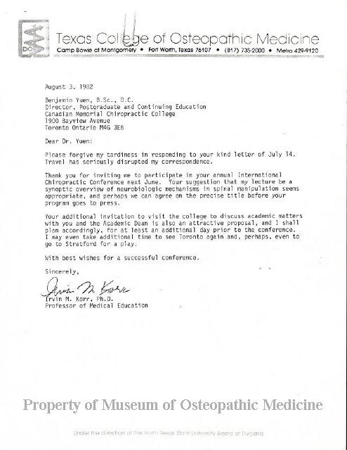 2004 244 - Correspondence between Irvin Korr and Benjamin Yuen