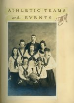 Image of 1919 girls' basketball team (scrapbook page)