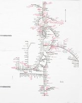 Image of Marked-up Map of Northern Pacific Railroad lines in Washington  - Map