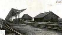Image of Passenger Train at Northern Pacific Railway Depot - Postcard