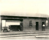 Image of Clara E. Wing at Northern Pacific Railway East Auburn Depot - Print, Photographic