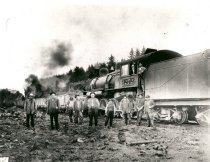 Image of Northern Pacific Railway Engine and Crew - Print, Photographic