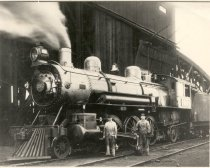Image of Northern Pacific Railway Engine with Engineer and Fireman - Print, Photographic