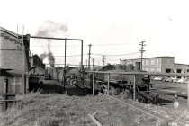 Image of Northern Pacific Railway Roundhouse with Engines on Outgoing Track - Print, Photographic