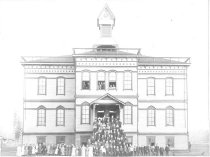 Image of Central School and Students - Print, Photographic