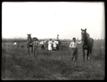 Image of Japanese Family With Horses - Print, Photographic