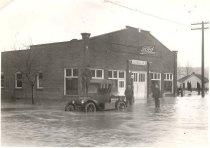 Image of Flood Scene - Hallock Garage - Print, Photographic