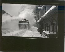 Image of Snowplow clearing westward track - Print, Photographic