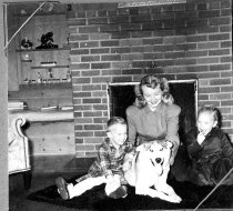 Image of Unidentified Lady With Children and Dog - Print, Photographic
