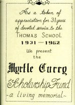 Image of Myrtle Curry Scholarship Fund Commemorative Certificate - Commemorative