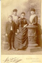 Image of Family portrait of mother, daughters and son - Print, Photographic
