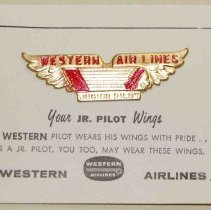 Image of Western Airlines Junior Pilot Kiddie Wings with Card - ca. 1950s