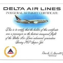 Image of Delta Air Lines Inaugural 767 Flight Certificate - 12/15/1982