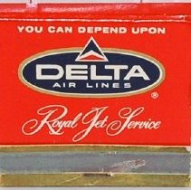 Image of Delta Royal Jet Service Matchbook, 1960 (Side 1)