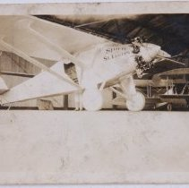 Image of Lindbergh's Spirit of St. Louis in Doug Davis Hangar, Atlanta - 10/11-12/1927