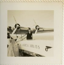 Image of Pan American Pilot Everard C. Beirer Deplaning from Clipper - ca. 1936-1939