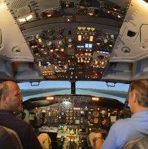 Image of Delta Boeing 737-200 flight simulator cockpit interior, 2014