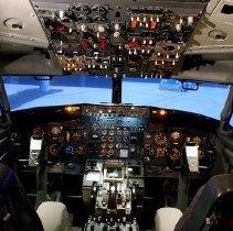 Image of Delta Boeing 737-200 flight simulator cockpit, 2014