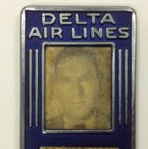 Image of C.E. Woolman's Delta ID Badge (Employee #1) - ca. 1941