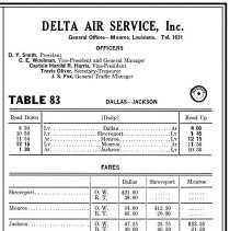 Image of Delta Air Service flight schedule from OAG, August 1929
