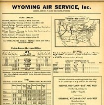 Image of Wyoming Air Service page from OAG, May 1936