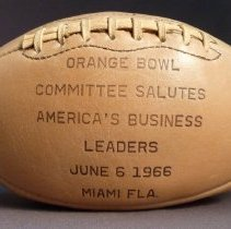 Image of C.E. Woolman's Football from Orange Bowl Committee, side
