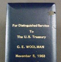 Image of C.E. Woolman's U.S. Treasury Medal, case lid