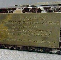 Image of C.E. Woolman's Travel Hall of Fame Award, plate