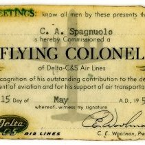 Image of Delta-C&S Flight Colonel Membership Card, 5/15/1955