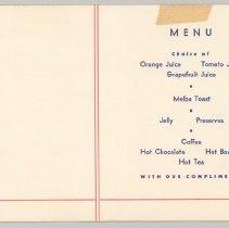 Image of Delta Breakfast Menu, 1940s, inside