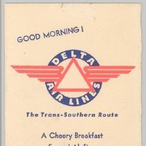 Image of Delta Breakfast Menu, 1940s, front cover