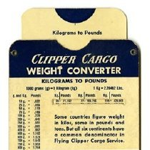 Image of Pan American Clipper Cargo Weight Converter, 1951, back