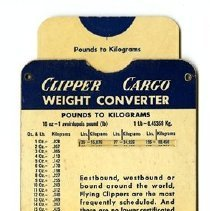 Image of Pan American Clipper Cargo Weight Converter, 1951, front