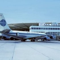 Image of Pan Am Boeing 707, N718PA at the Pan Am Worldport in New York