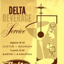 Image of Delta Beverage Service Selection Card - ca. 1958