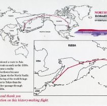 Image of Northwest Airlines Russia Overflight Inaugural Route Map - 10/12-13/1992
